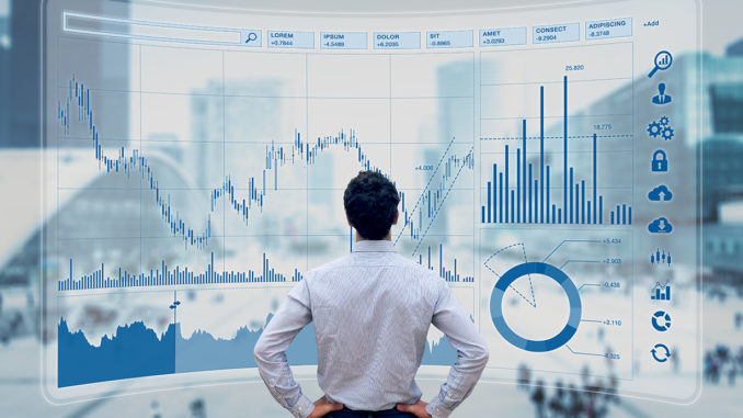 Finance Manager analyzes stock market indicators for best investment strategy, financial data and charts with business buildings in background