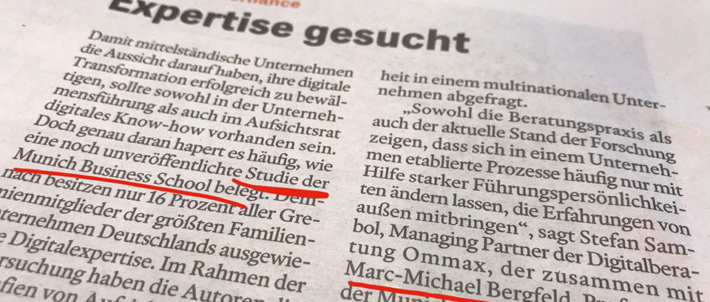 Photo of the Handelsblatt article that featured the master's thesis